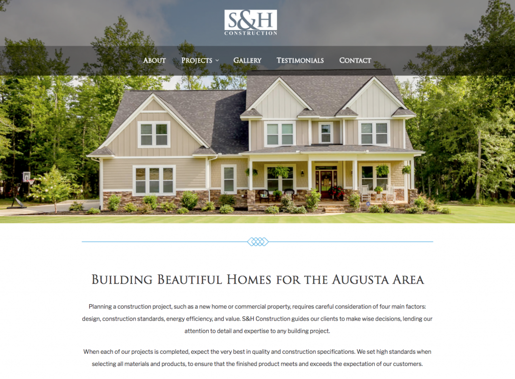 Branding site design s h construction alive media for Designer homes augusta ga